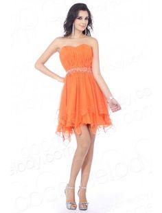 Sweetheart Short Mini Chiffon Orange Party Dress