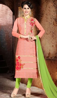 Get going with this churidar kameez in rose pink color embroidered churidar suit. The ethnic lace and resham work with the attire adds a sign of elegance statement for the look. #churidardress #lateststraightcutsuit #silkdressescollection
