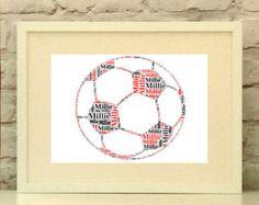 Football Personalised print, Soccer, Custom Print, Wall Art, Typographic Print