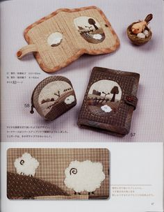 My Favorite Applique - - Picasa Web Album Japanese Patchwork, Patchwork Bags, Quilted Bag, Penny Rug Patterns, Bag Patterns To Sew, Felt Applique, Applique Quilts, Handmade Wallets, Fabric Boxes