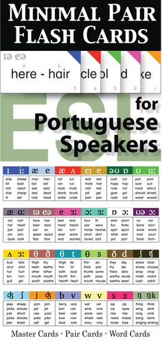 Minimal Pair Flash Cards for Portuguese Speakers comes with charts, assessment logs, master cards, pair cards, and individual word cards. With this set you will have a flexible resource for assessments and to utilize in pronunciation activities.