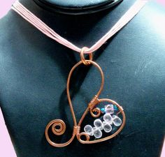 Hammered Copper Heart Necklace W Rose Quartz by TUTreasures, $25.50