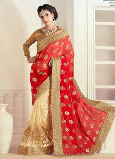 Ethnic NX Trendy Embroidered Work Viscose Half N Half Designer Saree |  http://www.ethnicnx.com/sarees/trendy-embroidered-work-viscose-half-n-half-designer-saree-8153