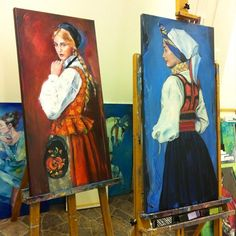 In two days my studio will be open to the public. There are still paintings to be finished. #folklore #traditional #clothing #norwegian #costume #acrylic #portrait #colourful #women #art #fineat #artwork #studio #acrylic #staffeli #atelier #maleri
