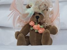 Miniature 4 Inch Teddy Bear Blonde Angel Bear by CloesCloset, $35.00