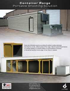 Container Ranges - Shooting Range Technologies™ by Laser Shot, Inc - Vine Ideas Portable Shooting Bench, Shooting Bench Plans, Weapon Storage, Gun Storage, Outdoor Shooting Range, Indoor Shooting, Archery Range, Archery Hunting, Deer Hunting