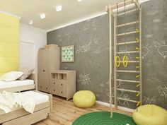 """chalkboard"" concrete wall, indoor jungle gym"