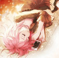 A cute anime girl sleeping by her phone, probably thinking of someone special. <3