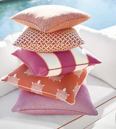 Orange and pink is one of my absolute favourite combinations, here so beautifully and vibrantly done by Thibaut in their new Portico collection How To Make Curtains, Made To Measure Curtains, Animal Print Wallpaper, Herringbone Fabric, How To Hang Wallpaper, Outdoor Fabric, Indoor Outdoor, Outdoor Living, Fabric Rug