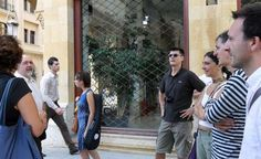 """Me, Sasa Zograf, Paola, Gigi """"Sime"""" Simeoni, Rita Braga, Andrea Plazzi and Annalisa of Cosv, walking in the desert downtown of Beirut, the day after the bomb in Sassine Square"""