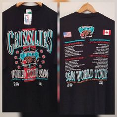 af726c72 RARE 90's VANCOUVER GRIZZLIES T-shirt New with Tags, World Tour Tee, Double  Sided, Men's Large