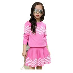 School Girls Brand Cardigan Clothes Sets Knitted Sweater + Wave Skirt 2Pcs Winter Autumn Warm Children Clothing Kids Outfits W75 #SchoolOutfits School Outfits, Kids Outfits, Children Clothing, Outfit Sets, Wave, Autumn, Skirts, Sweaters, Clothes