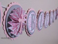 God Bless Banner  Custom Baby Name Gray and Pink Damask Baptism Banner on Etsy, $31.00