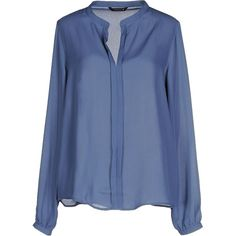 Only Blouse ($27) ❤ liked on Polyvore featuring tops, blouses, slate blue, long sleeve blouse, blue blouse, blue long sleeve top, v-neck tops and v neck long sleeve top