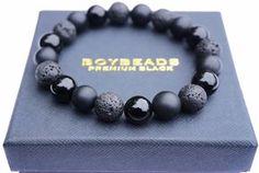 """Abel"" BOYBEADS 10mm Black Onyx + Lava Bracelet for Men NYC"