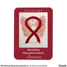 Hereditary Hemochromatosis Awareness Angel Burgundy Ribbon  Magnet