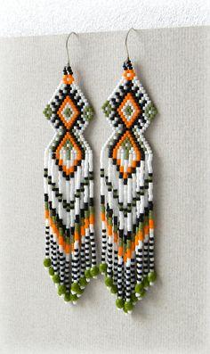 Long Fringe  Ethnic Style Beaded Earrings  by Anabel27shop on Etsy