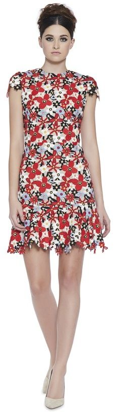 Imani Cap Sleeve Fit Flare Dress. Cap sleeve Crew neck Flare bottom Mini dress Fitted Embroidered throughout Back. #fashion #style #dress #minidress #minidress2018 #floraldress
