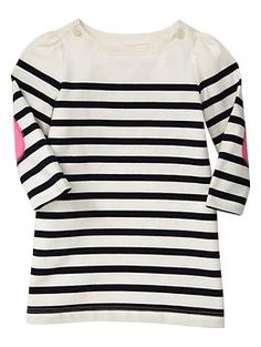 Elbow-patch striped dress   Gap - Could be a DIY to add elbow cirlces