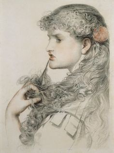 Frederick Sandys, English,Pre-raphaelite artist (1829-1904). 'Proud Masie' (c.1893)  pencil and chalk