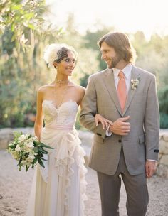Gray bridesmaids dresses with ivory wedding