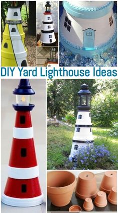 DIY Painted Clay Pot Yard Lighthouse with Solar Light Build a yard lighthouse with clay pots that has a solar light on top. Stacked clay pots do make perfect lighthouses! These DIY clay pot lighthouse ideas will get you started. Be as creative as you want Clay Pot Projects, Clay Pot Crafts, Diy Clay, Garden Projects, Painted Clay Pots, Painted Flower Pots, Clay Flower Pots, Clay Pot Lighthouse, Lighthouse Decor