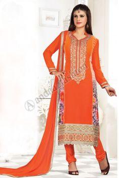 Black Orange Georgette Churidar Suit with Chiffon Dupatta, Full Sleeve Kameez, Boat Neck Kameez Chiffon, Churidar Suits, Salwar Kameez Online, Suit Fabric, Desi Clothes, Pakistani Designers, Types Of Dresses, Tight Dresses, Colour Black