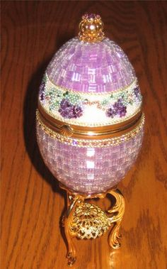 beading egg patterns | this is a goose egg beaded with bugle beads in a basketweave pattern ...