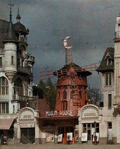 The Moulin Rouge at Montmartre, Paris, Photo by Jules Gervais Courtellemont, National Geographic Montmartre Paris, Color Photography, Vintage Photography, Paris Photography, Urban Photography, Le Moulin Rouge Paris, Old Photos, Vintage Photos, Albert Kahn
