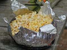 Cheap camping popcorn. Yum! #campfood #campingtip #travelcooking