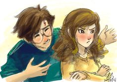 Harry and Hermione Harry Potter Puns, Harry Potter Ships, Harry James Potter, Harry Potter Anime, Harry Potter Fan Art, Harry Potter World, Harry Y Hermione, Harmony Harry Potter, Cute Love Stories