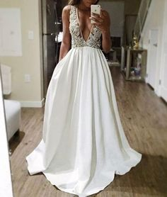 White v neck sequin beaded long prom dress, white evening dress