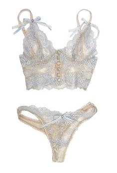 Brides.com: . Vintage RomanticAberdeen bralette, $285, and thong, $195, Heirloom by Claire Pettibone
