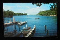 1950s Bay View Boats Docks Old Gas Pump Globe Gull Lake MI Kalamazoo Co Postcard