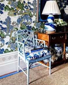 A tiny square capturing all of my favourite things. Blues, Bamboo, a Brushstroke Lamp, a bold wallpaper and fresh Blooms… Blue And White Wallpaper, Bold Wallpaper, Chinoiserie Wallpaper, Chinoiserie Chic, Bedroom Wallpaper, Blue Wallpapers, Colorful Wallpaper, Pattern Wallpaper, Living Room Furniture