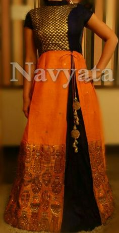 Silk floor length indian outfit with handwork. For further details contact us on + 919892398900, + 919930413660