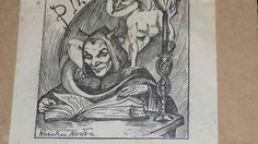 Occult Bookplate by famous Australian occult artist and She's A Witch, Wicked Witch, Rosaleen Norton, Winged Serpent, Witch Coven, Occult Art, Demonology, Autumnal, Sign Design