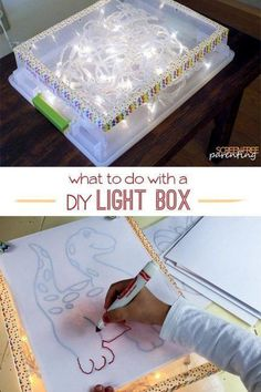How to make a DIY Light Box and some easy and fun ideas for the kids to do with . How to make a DIY Light Box and some easy and fun ideas for the kids to do with a light box. Toddler Activities, Preschool Activities, Diy For Kids, Crafts For Kids, Baby Crafts, Help Kids, Licht Box, Easy Diy, Simple Diy