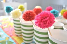 pom pom drink stirrers or cupcake toppers.