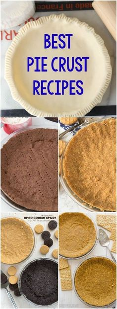 Everyone needs some Pie Crust Recipes! These no-bake cookie pie crust and baked pastry crust recipes are perfect for every pie recipe. Pastry Crust Recipe, Best Pie Crust Recipe, Pie Crust Recipes, Pie Crusts, Cookies Et Biscuits, No Bake Cookies, Baking Cookies, Chip Cookies, Baking Pies