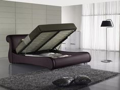 GREATIME BS1048 Queen Size Dark Brown Vinyl Upholstered Storage Bed with Slats #Greatime #Contemporary