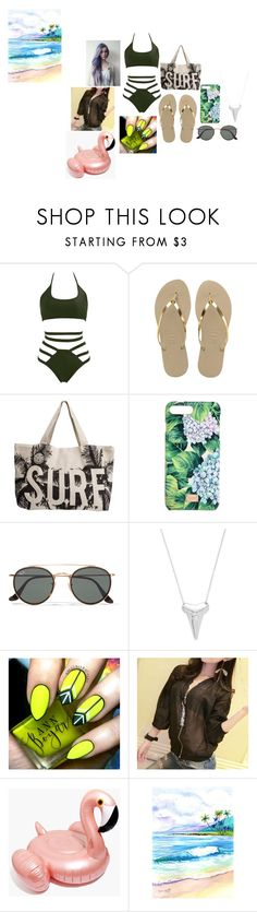 """going to the beach"" by unicorin ❤ liked on Polyvore featuring Havaianas, Rip Curl, Dolce&Gabbana, Ray-Ban and Madewell"