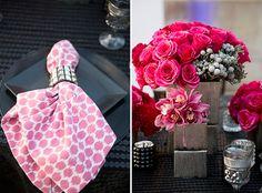 La Tavola Fine Linen Rental: Seeing Spots Jazzberry Napkin and Leather Dots Black linen   Photography: Kristen Bienke, Floral Design: Ella & Louie Floral Studio