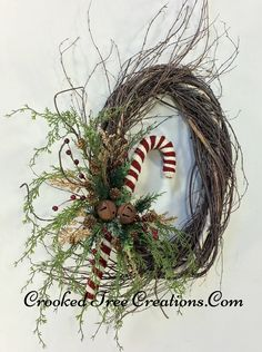 Oval Birch Wreath With Candy Cane And Rusty Bells