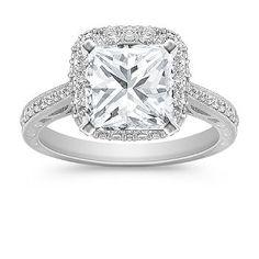 Vintage Halo pave setting/princess cut Diamond Engagement Ring.  2 carat center stone. Gorgeous :)