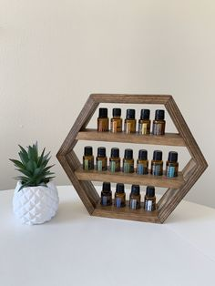 Small Hexagon Essential Oil Shelf with indentations to perfectly fit your essential oil bottles! Essential Oil Rack, Essential Oil Storage, Essential Oil Bottles, Doterra Essential Oils, Essential Oil Blends, Hexagon Shelves, Young Living Oils, 3d Prints, Essential Oils Accessories