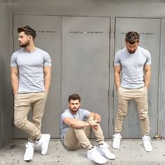 Casual grey t shirt, khaki chinos and white kicks.