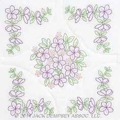 "Floral Bouquet 18"" White Quilt Blocks"