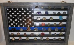 Thin Blue Line Coin Case, challenge coin display, Police coin holder, Challenge coin display case
