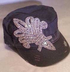 Mega Design Gray Iridescent Rhinestone Military Cadet Hat Saints Star Bling NWT - Hats